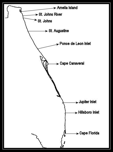 Map Of Florida Atlantic Coast.Lighthouses Of Florida S Atlantic Coast